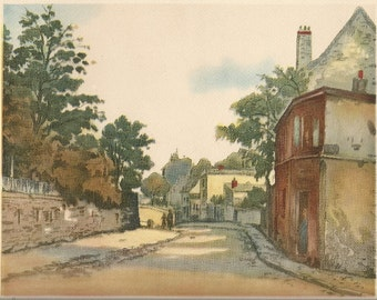 Old Street Scene in Burgundy Vintage Art Print, 1940's