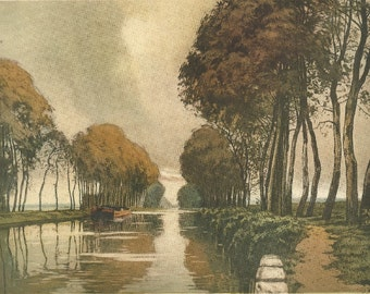 Evening on the Canal Vintage Art Print, 1940's