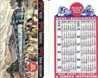 Missouri Pacific Lines Vintage Pocket Calendar 1943