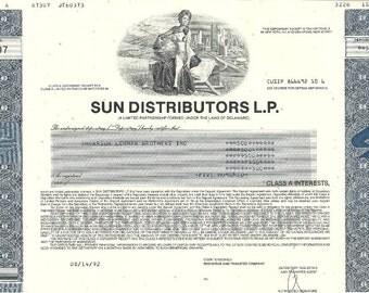 Sun Distributors VIntage Original Stock Certificate (blue), 1990's