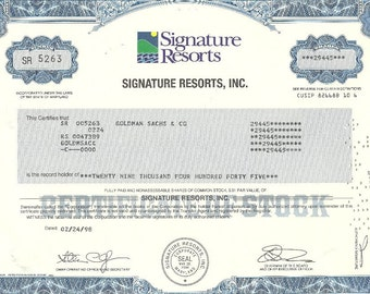 Signature Resorts Vintage Original Stock Certificate, 1990s