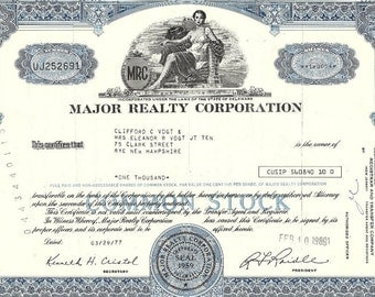 Major Realty Corporation Vintage Stock Certificate,1960-80's