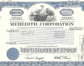 Meredith Corporation Vintage Original Stock Certificate,1980-90's