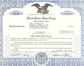 First-Knox Banc Corp Vintage Original Stock Certificate, 1980's