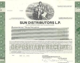 Sun Distributors Vintage Original Stock Certificate (green), 1990's