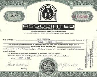Associated Food Stores Vintage Original Stock Certificate, 1950's