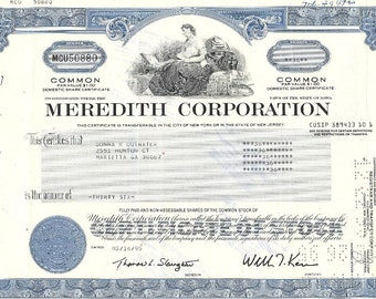 Meredith Corporation Vintage Original Stock Certificate (blue), 1990s