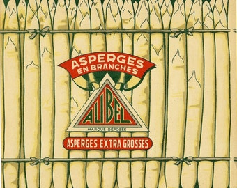 Alibel Asparagus Vintage French Crate Label, 1940's