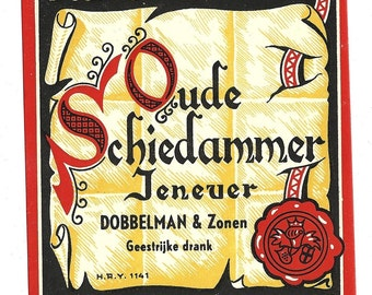 Oude Schiedammer Jenever Vintage Alcohol Label, 1940s