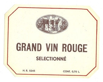 Grand Vin Rouge Selectionne Wine Label