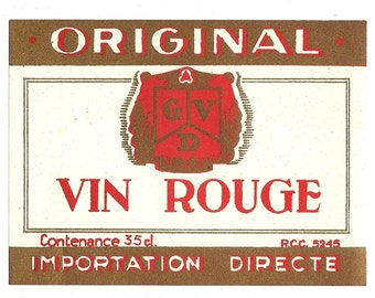 Original Vin Rouge Vintage Wine Label, 1950s