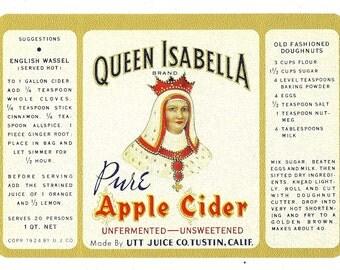 Queen Isabella Apple Cider Vintage Label with Recipes, 1924