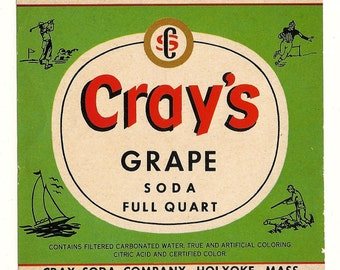 Cray's Grape Vintage Soda Label, 1940s