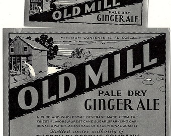 Old Mill Ginger Ale Soda Label, 1940s