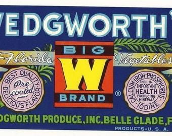 Wedgworth's Big W Brand Florida Vegetables Vintage Crate Label, 1950s
