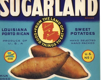 Sugarland Louisiana Porto Rican Sweet Potatoes Vintage Crate Label, 1950s