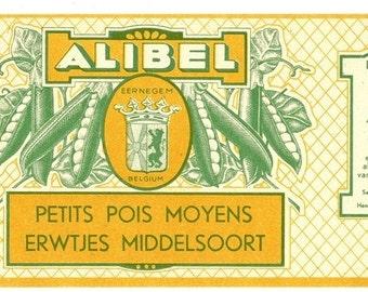 Alibel Belgium Petits Pois (Peas) Vintage Can Label, 1940s