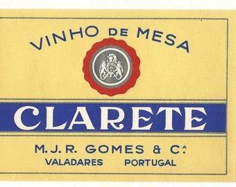 Vinho de Mesa Clarete Vintage Wine Label, 1930s