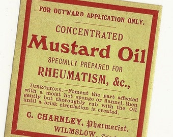 Concentrated Mustard Oil Vintage Quack Medicine Label, 1940s