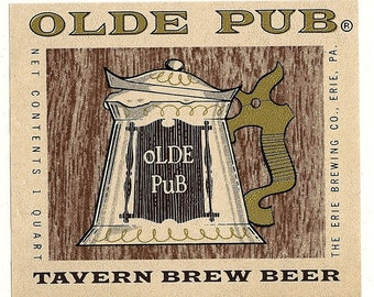 Olde Pub Tavern Brew Vintage Beer Label, 1940s