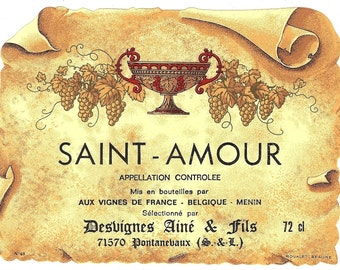 Holy Love to the Vineyards of France Saint-Amour Vintage Wine Label, 1930s