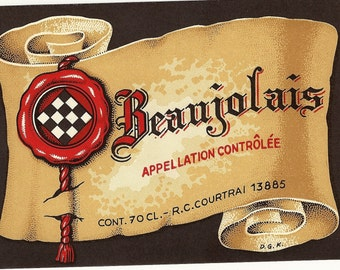 Beaujolais Red Wine Vintage Label, 1940s