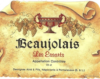 Beaujolais Les Essarts Vintage Wine Label, 1930s