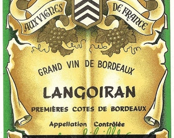 Grand vin de Bordeaux Langoiran Vintage Wine Label, 1930s