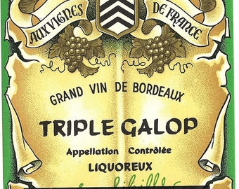 Grand vin de Bordeaux Triple Galop Vintage Wine Label, 1930s