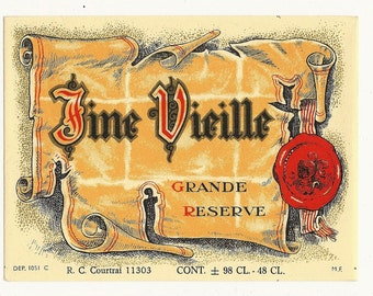 Fine Vieille Grande Reserve Wine Label