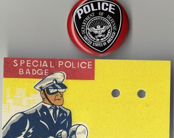 Department of Defense U.S.A. Police Vintage Tin Litho Badge, 1960s