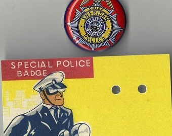 Chief Sheridan Police State of Wyoming Vintage Toy Tin Lithograph Police Badge, 1960s