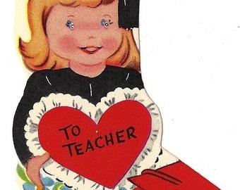Teacher Vintage Valentine Card
