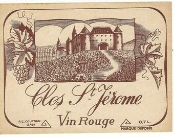 Clos St. Jerome Vin Rouge Vintage Wine Label, 1930s