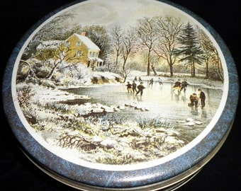 Ice Skating in a Winter Wonderland Christmas Tin (empty)
