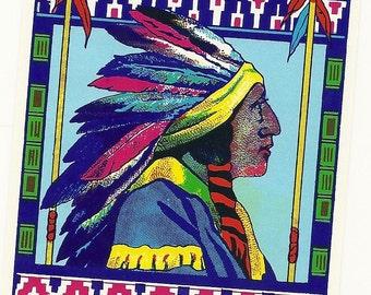 Native American Chief Vintage Broom Label, 1930's