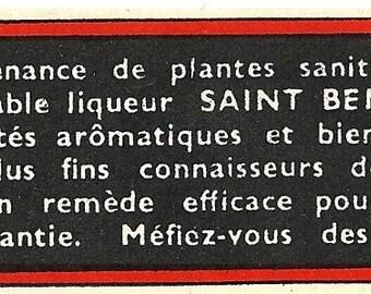 The True Saint Benoit French Vintage Liquor Label, 1940s