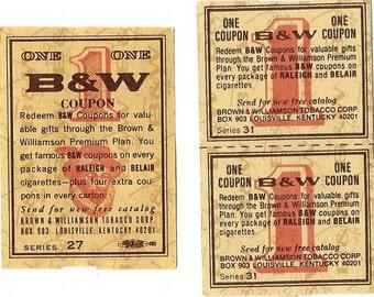 Brown & Williamson Vintage Tobacco Coupons, 1960-70s (Quantity 3)