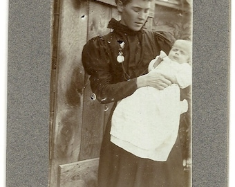 1900s Proud Young Mother with Baby Photograph