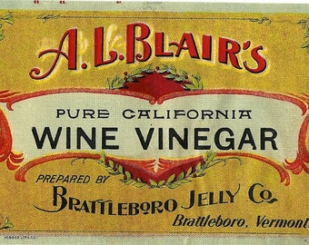 Wine Vinegar Brattleboro Jelly Co., A.L. Blair's Vintage Label, 1890s