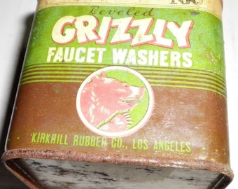 Grizzly Faucet Washer Vintage Tin, 1950s (empty)