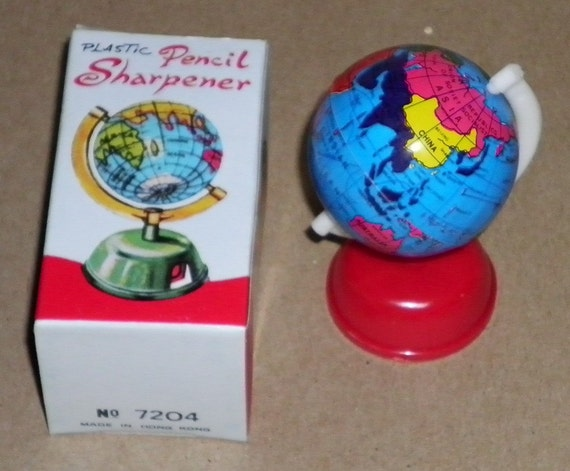 Yesteryear School Supply Tin Globe Vintage Plastic Pencil Sharpeners 1960's