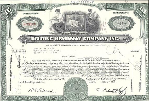 Belding Heminway Stock Certificate (green), 1960's