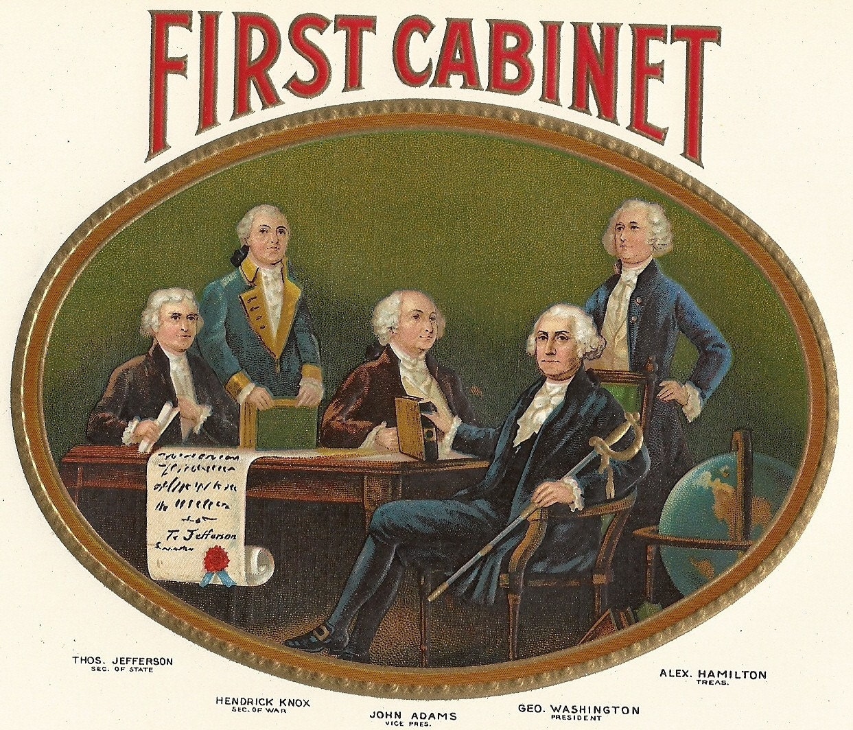 what is the presidents cabinet cabinet embossed inner vintage cigar label 1920 s 28311