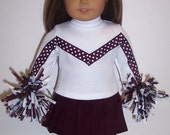 Maroon Cheerleader Outfit for American Girl/Bitty Baby Dolls