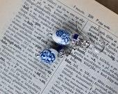 Oval White & Blue Porcelain Earrings