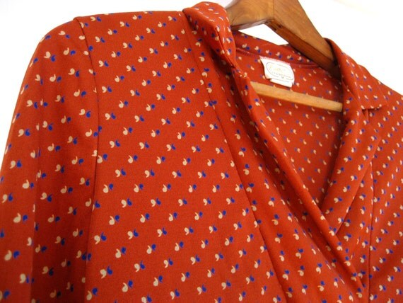 Vintage 1960's-1970's Polyester Burnt Orange Printed Blouse Size S/M