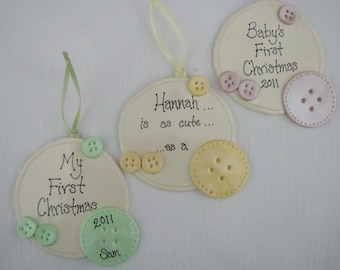 Cute as a Button Personalized Ornament