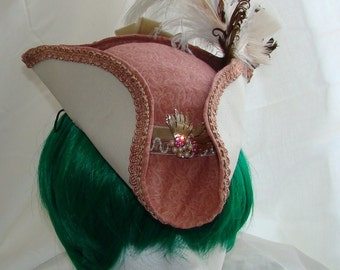 Pink white pirate small ladies dress hat