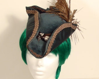 Green and Brown Ladies Dress Tricorner hat